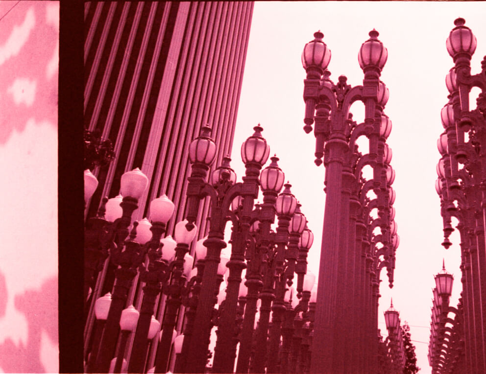 Photo of streetlight sculpture at LACMA, taken by Alex Oskie