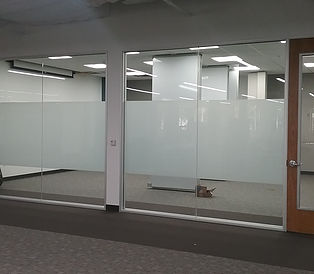 Picture of decorative partition inside office.