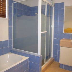 Image of a matte privacy partition for all glass shower.