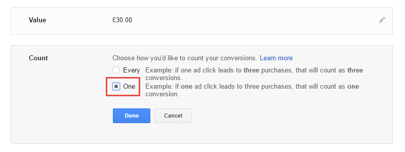 Choose How You'd Like To Count Your Conversions - Choose The 'One' Option For Lead Generation