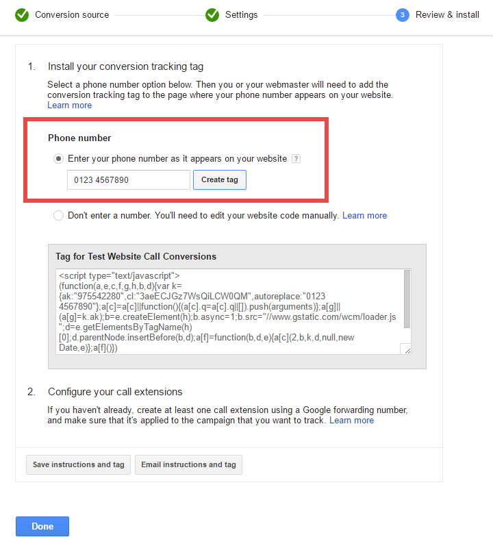 Google Adwords: Website Call Conversions Tracking Tag Screenshot
