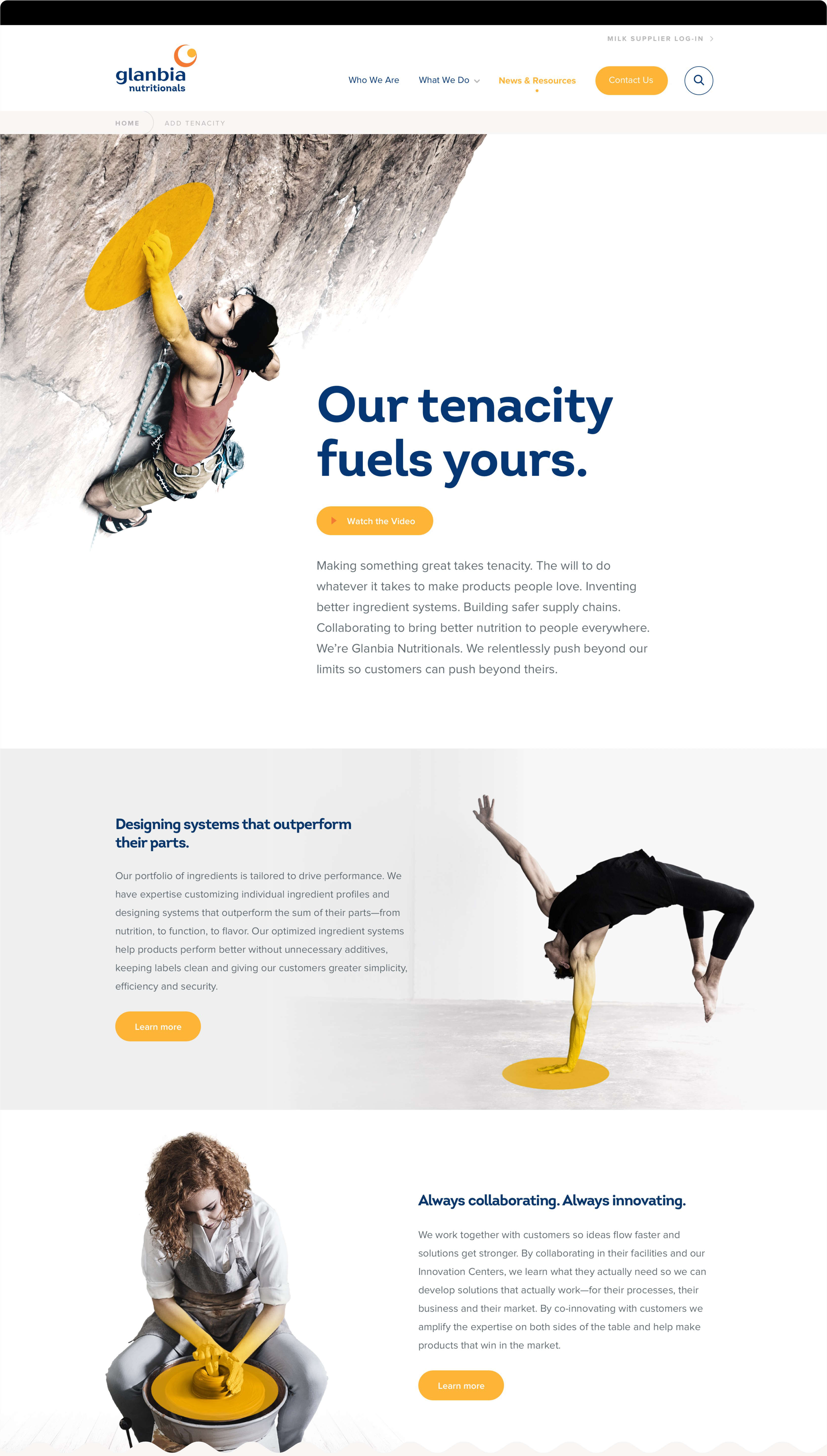 Glanbia Website Landing Page