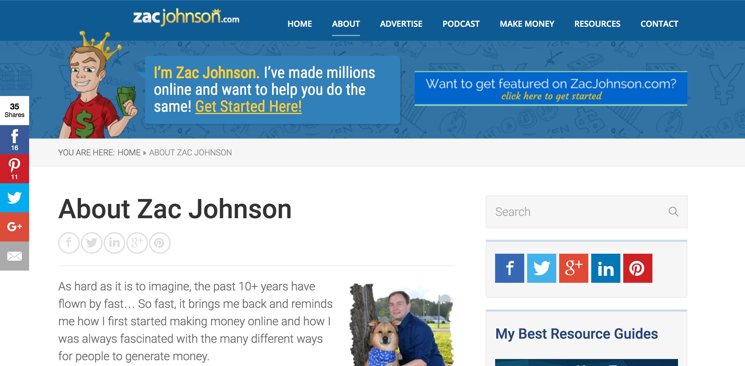 Zac Johnson Affiliate Marketing Blog