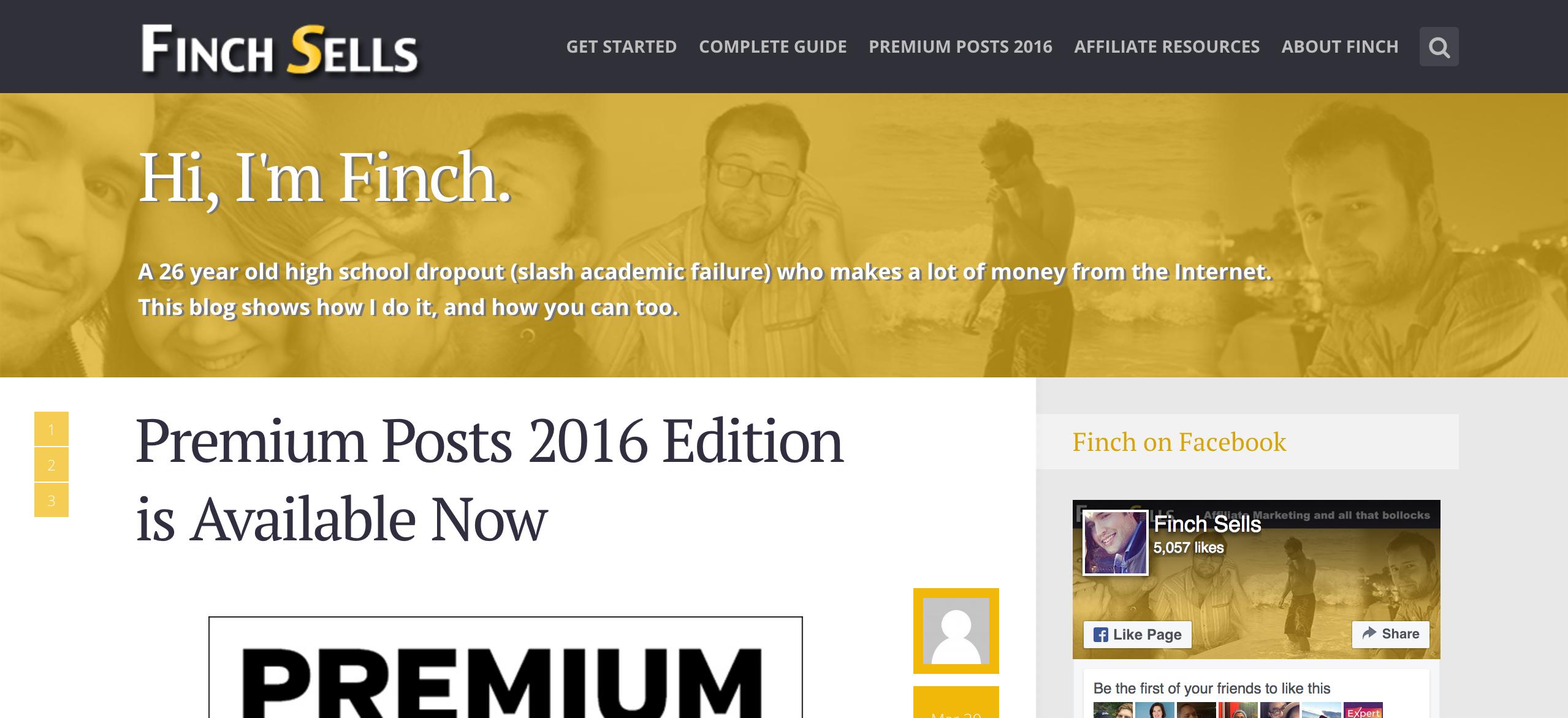 Finch Sells Affiliate Blog