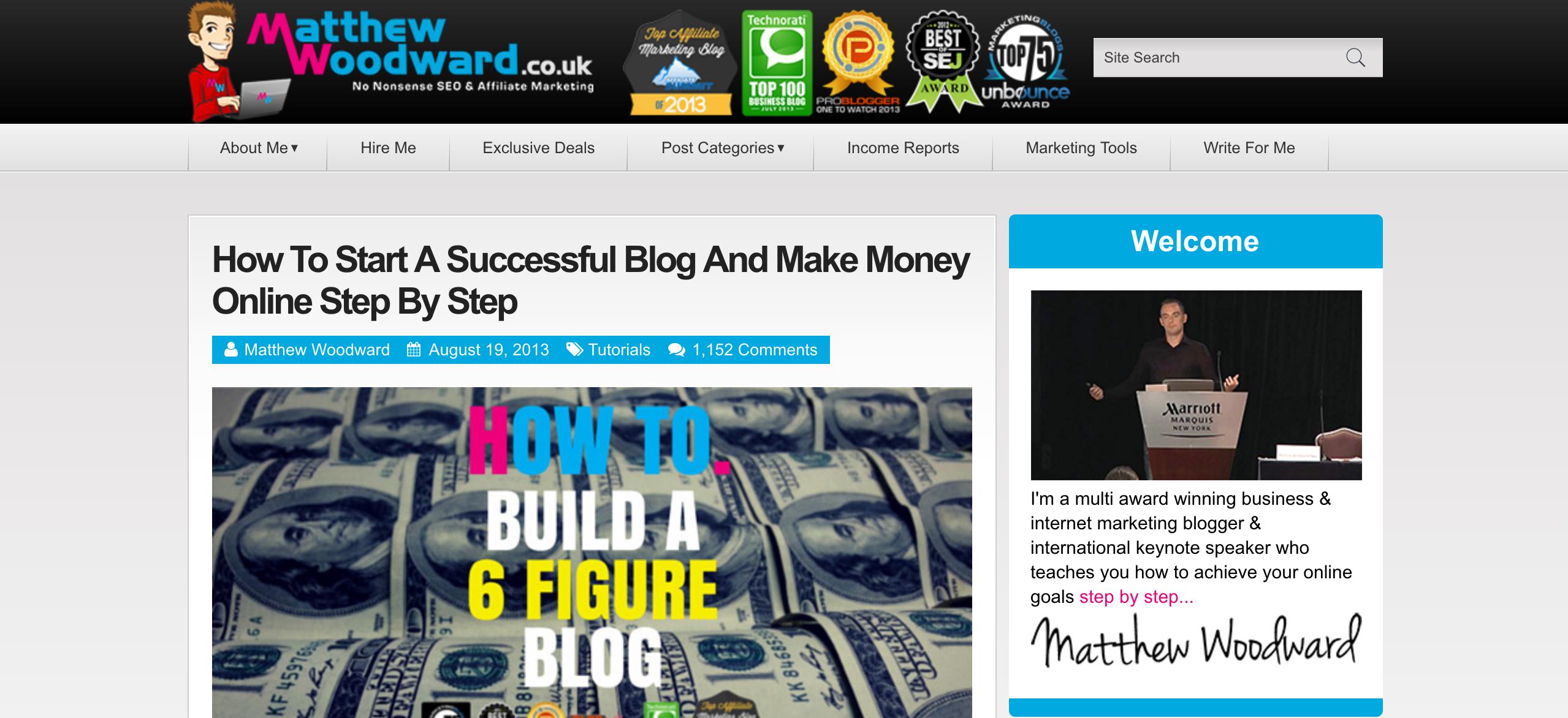 Matthew Woodward Affiliate Marketing and SEO Blog