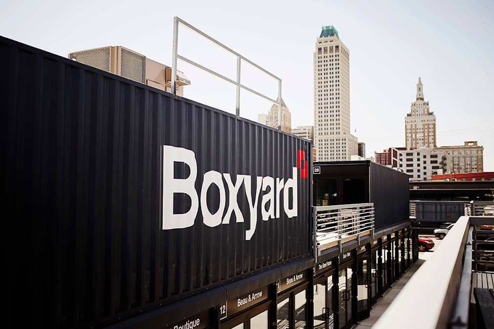 The Boxyard stays open late for First Friday Art Crawls, as well as during events such as the Blue Dome Festival and Tulsa Tough. (Photo: Marc Rains)