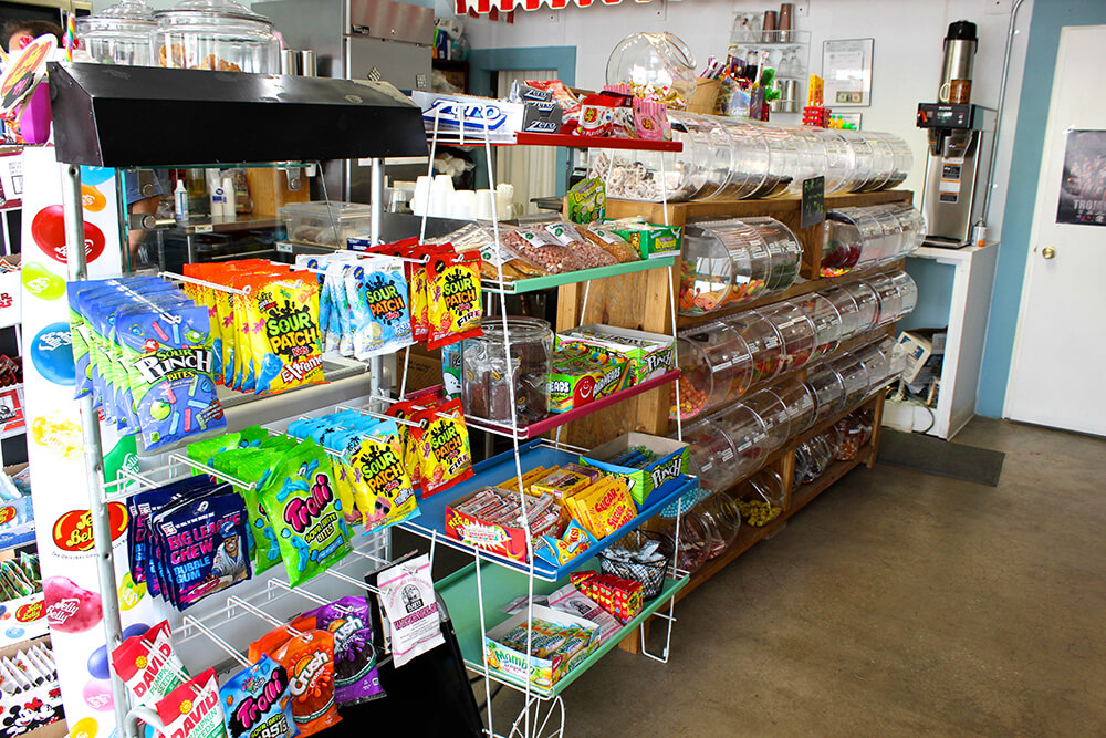 Be sure to check out the candy selection while you're there. Rustic Gate has shelves of packaged candy, and jars of bulk candy. (Photo: Chelsi Fisher)