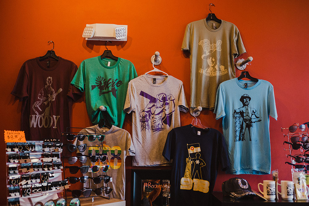 For tourists and businesspeople just passing through the area, Tulsa and Oklahoma themed shirts are highly popular, and Boomtown carries several cool designs you won't find elsewhere. (Photo: Sarah Eliza Roberts)