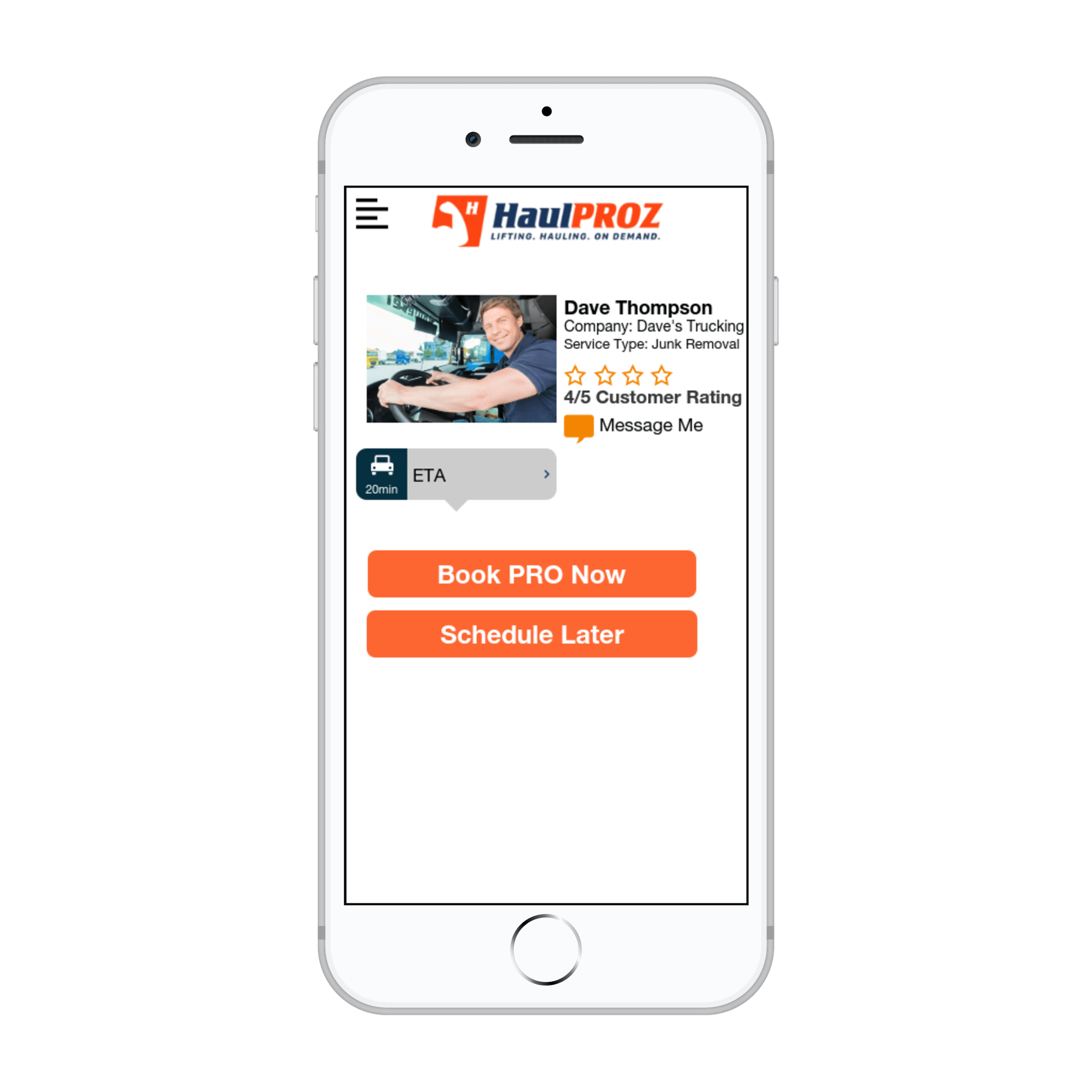 Mobile App of HaulPROZ driver, option to book a pro now or later
