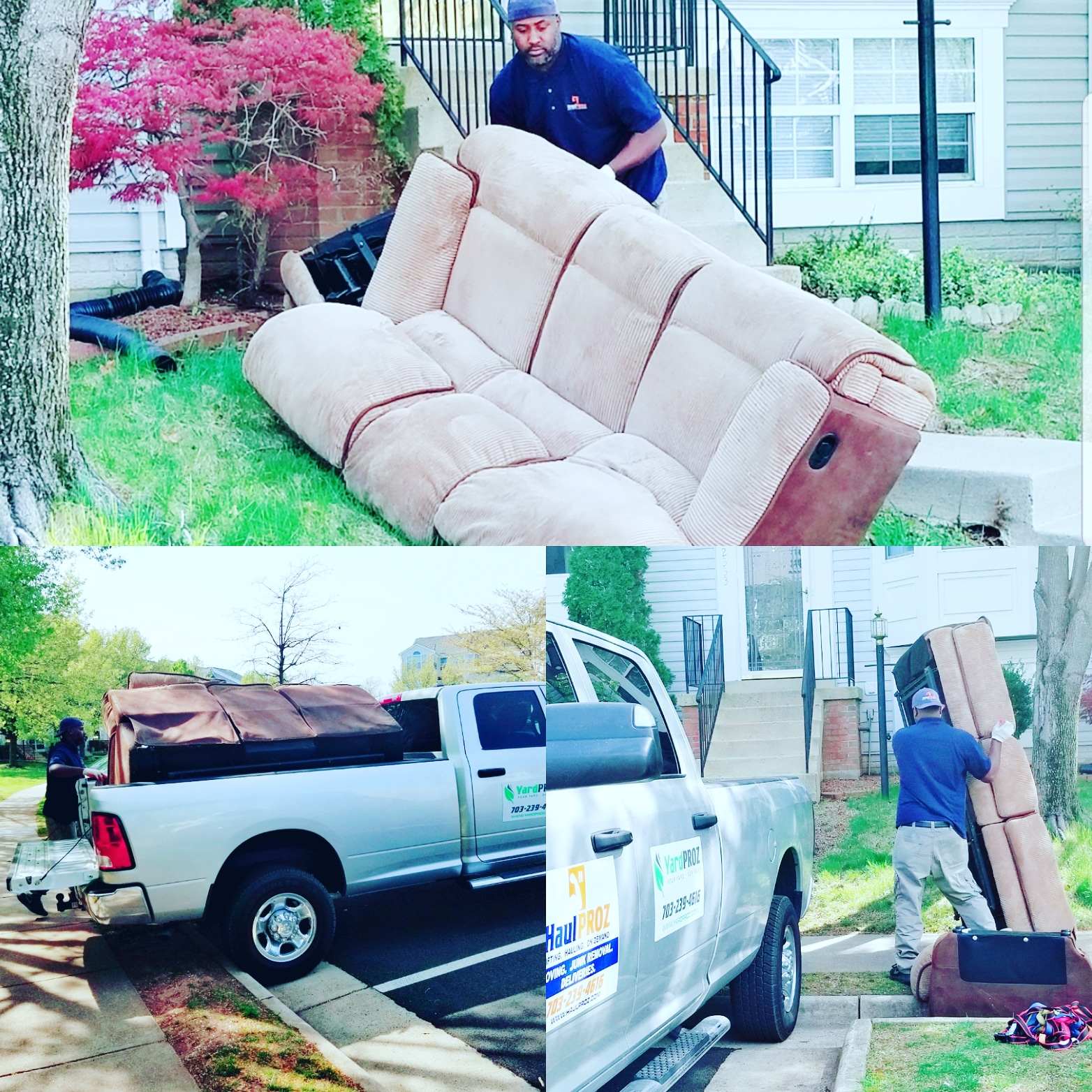 Pro loading large brown couch on pickup truck