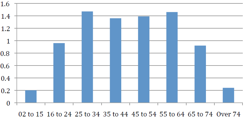 Chart 6: Frequency of flying by age group