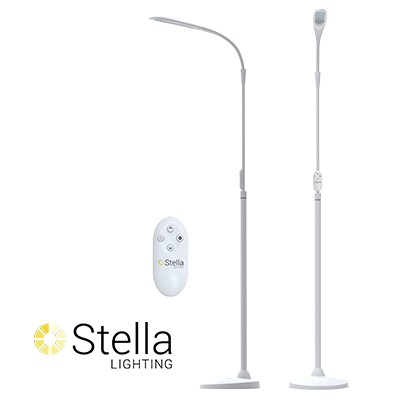 Flexible L.E.D lamp with tactile buttons on the pole. Brightness is adjustable. A wireless remote is included.