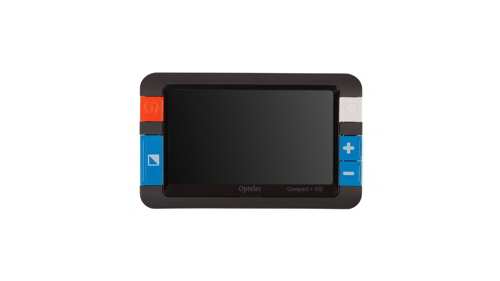 4.3 inch display with buttons of each side, and a camera on the back.