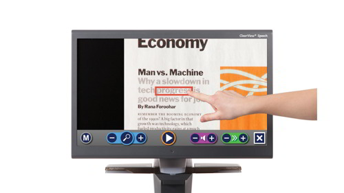 Desktop display with a mount, allowing content to be scanned below.