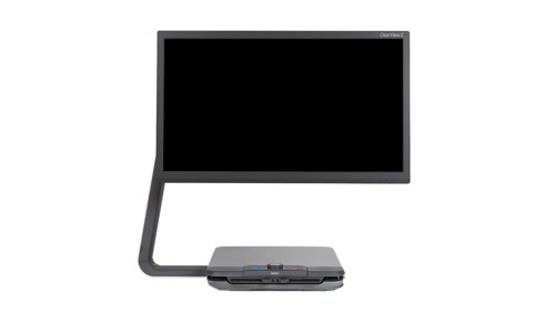This is a balanced desktop solution for home and office. Split screen with high contrast information, and the original computer display. The ClearView C is conveniently presented with a detachable wireless remote with, monitor buttons, and a crisp image.