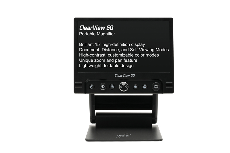 The ClearView GO portable desktop video magnifier offers the same reading comfort, ease of use, and functionality as any other desktop video magnifier - but in a compact and foldable design.