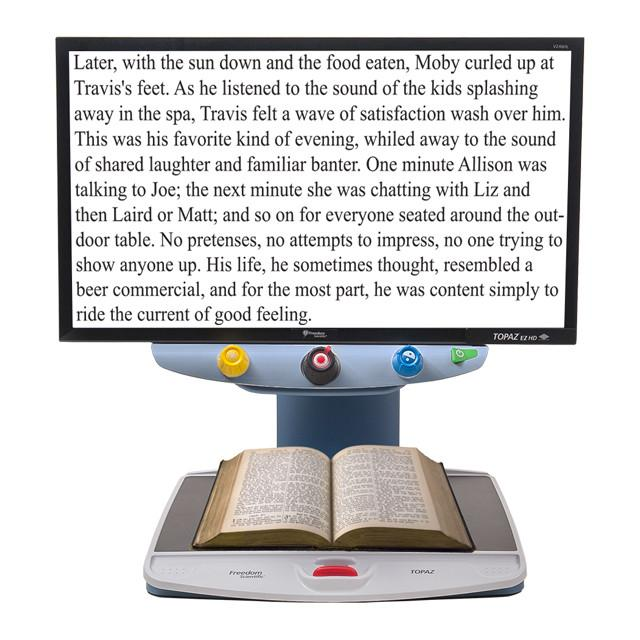 TOPAZ EZ HD Desktop Video Magnifier is an economical high-definition (HD) magnifier that emphasizes ease of use with single-function controls. The HD camera provides superior image quality, a wider field of view, and a lower magnification range.
