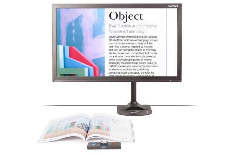 The new Optelec ClearView C Flex is a unique desktop video magnifier that improves your reading experience. The space-saving design provides you with more working space to read and write without being restricted in movement.