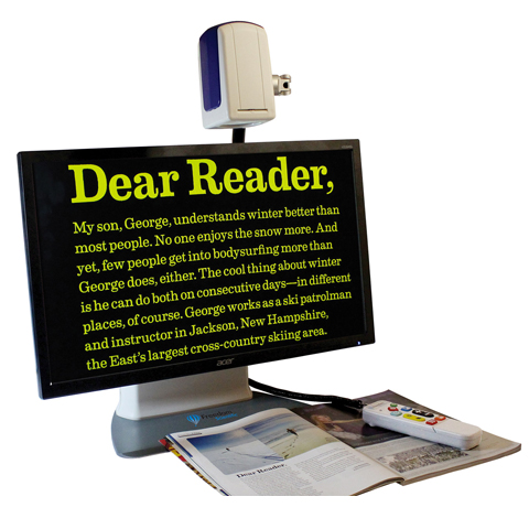 The 3-in-1 flexible camera provides document reading, distance viewing, and self-viewing modes with versatile controls.