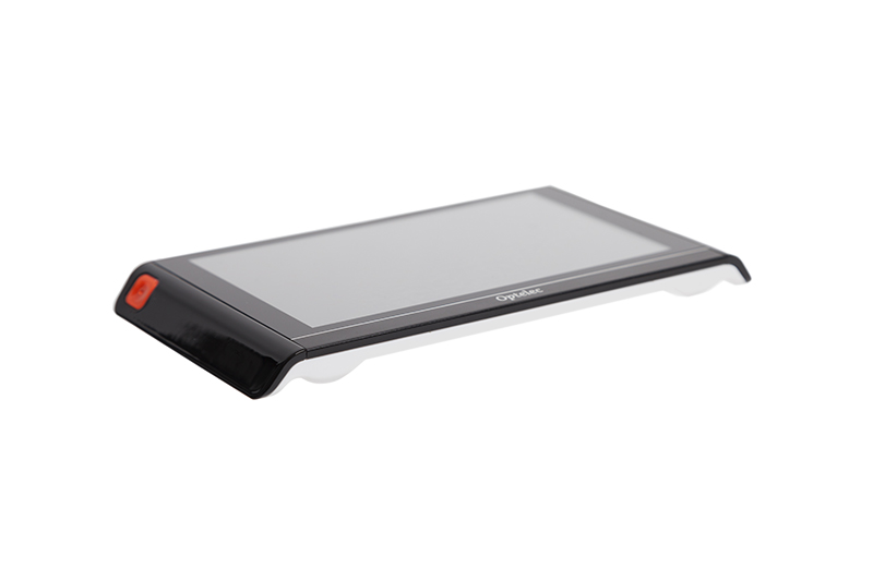 Being only 14 mm thin, it is a pocket-sized, 6-inch touch screen magnifier that reads texts aloud, whether it is at your desk, at a store, at home, at school, or at the office.