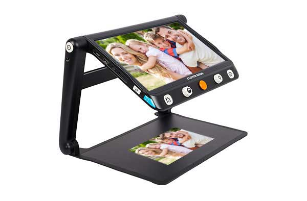 CloverBook LITE, is a large, 12.5-inch FHD touchscreen video magnifier; all in a light, foldable, extremely portable design!