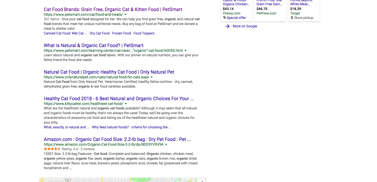 "Google search results for ""organic cat food."" Petsmart is the first listing."