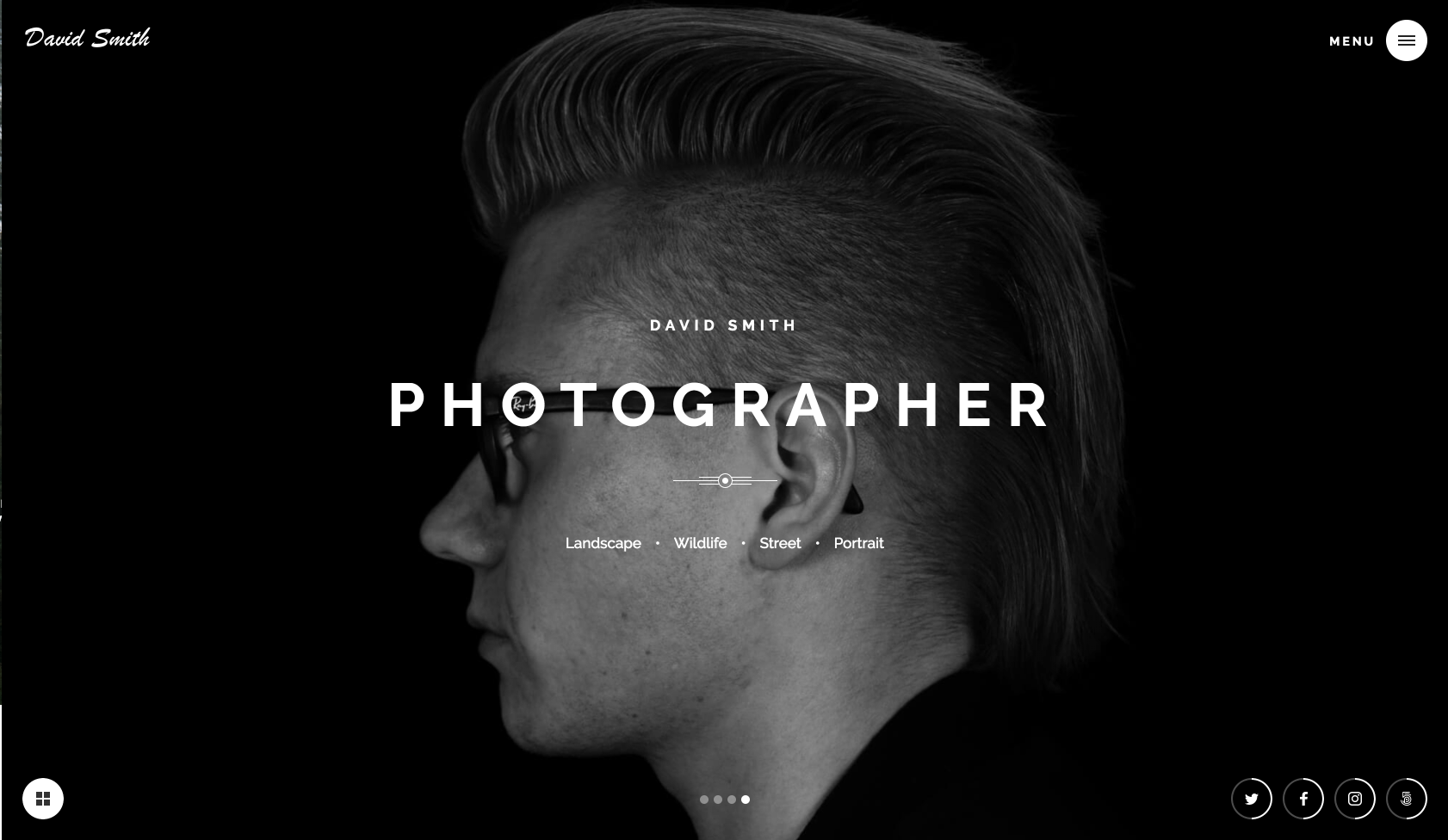 Homepage for Webflow template called Photographer.