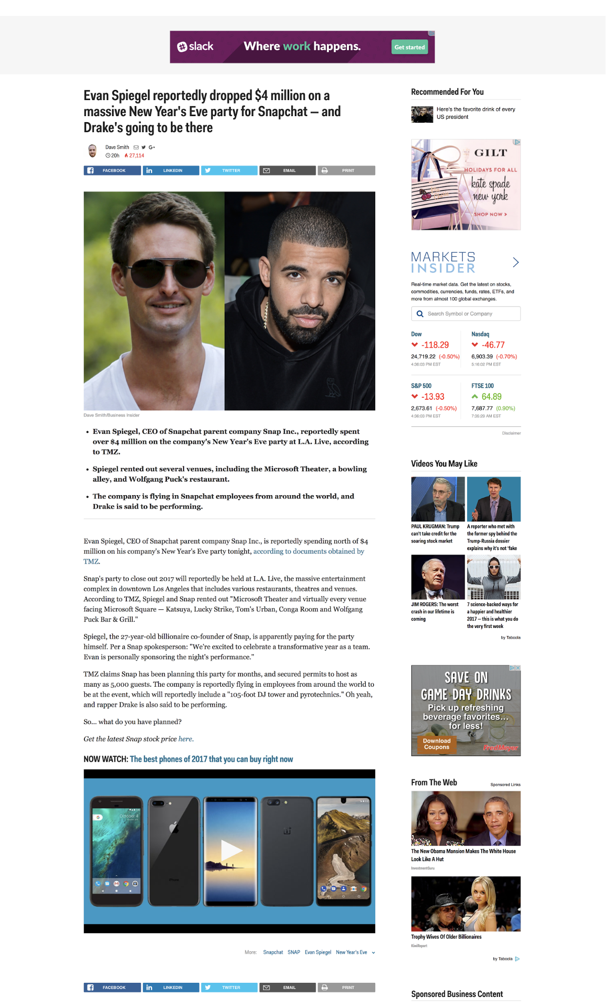 Business Insider blog page with social sharing buttons at the top and bottom of the page.