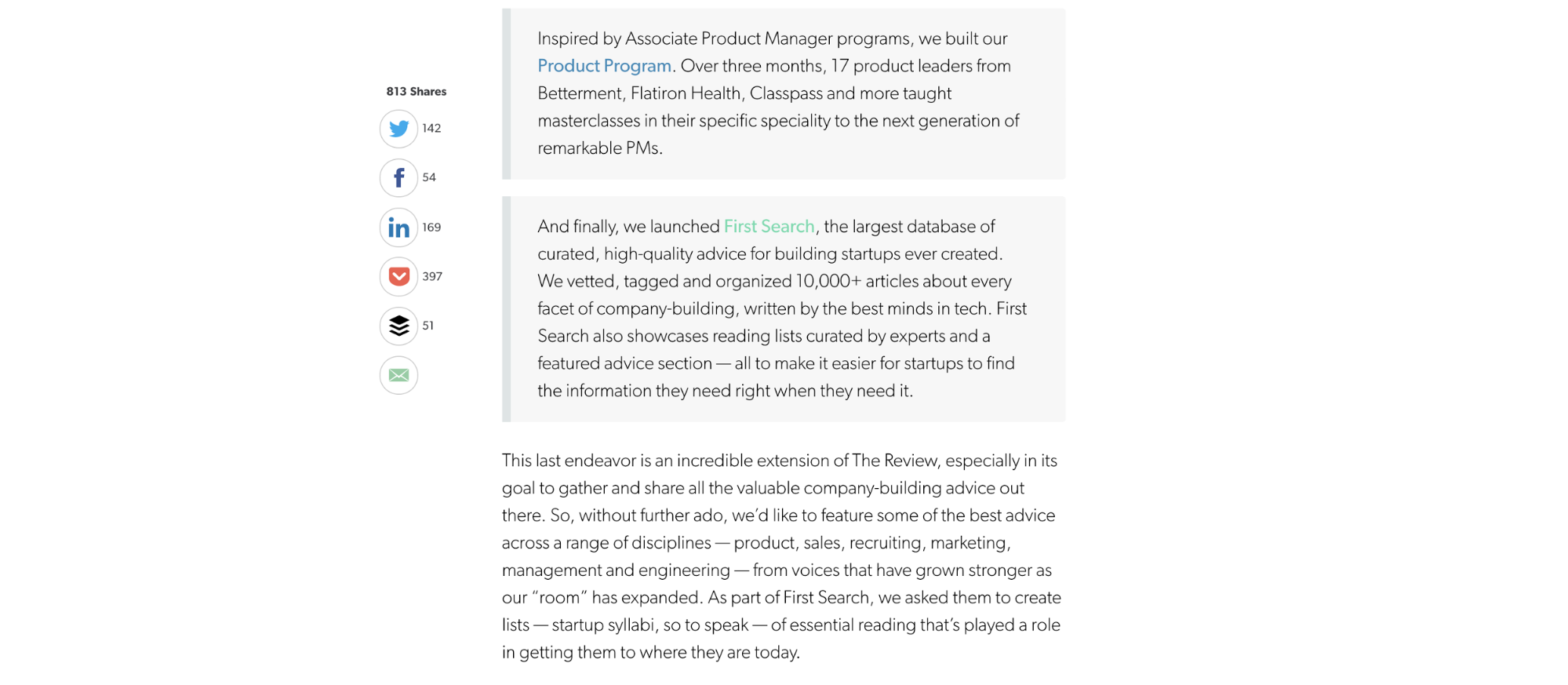 A blog page on First Round Review. It has a vertical box of social sharing buttons sitting the left of the article as the user scrolls.