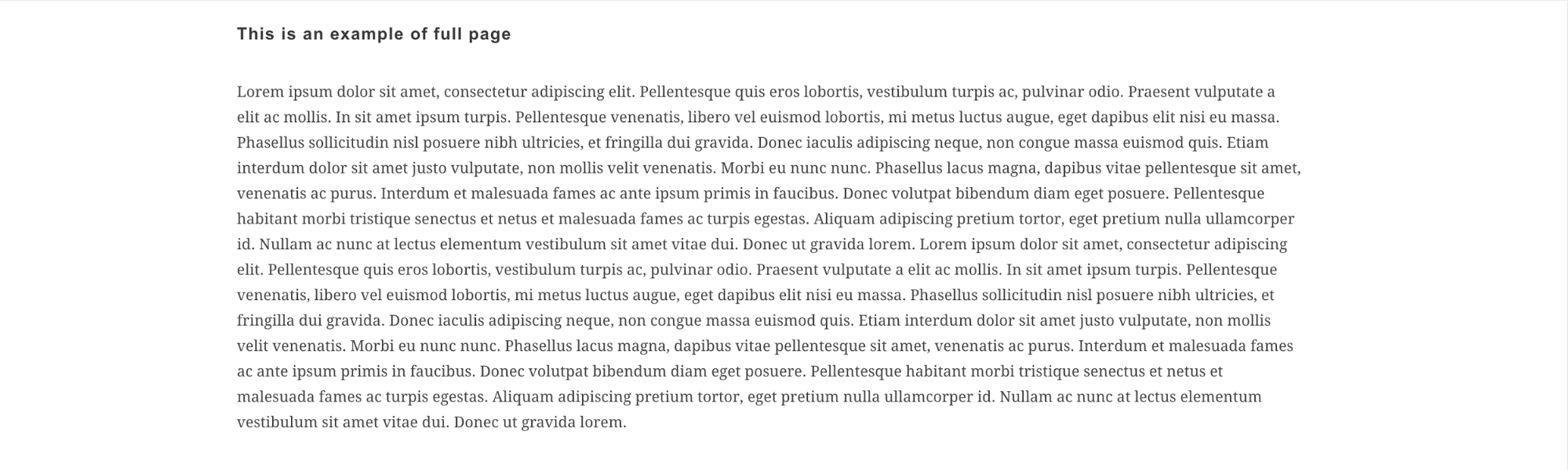 A sample of text in Lorem Ipsum formatted to be as wide as a page, making it difficult for users to track.