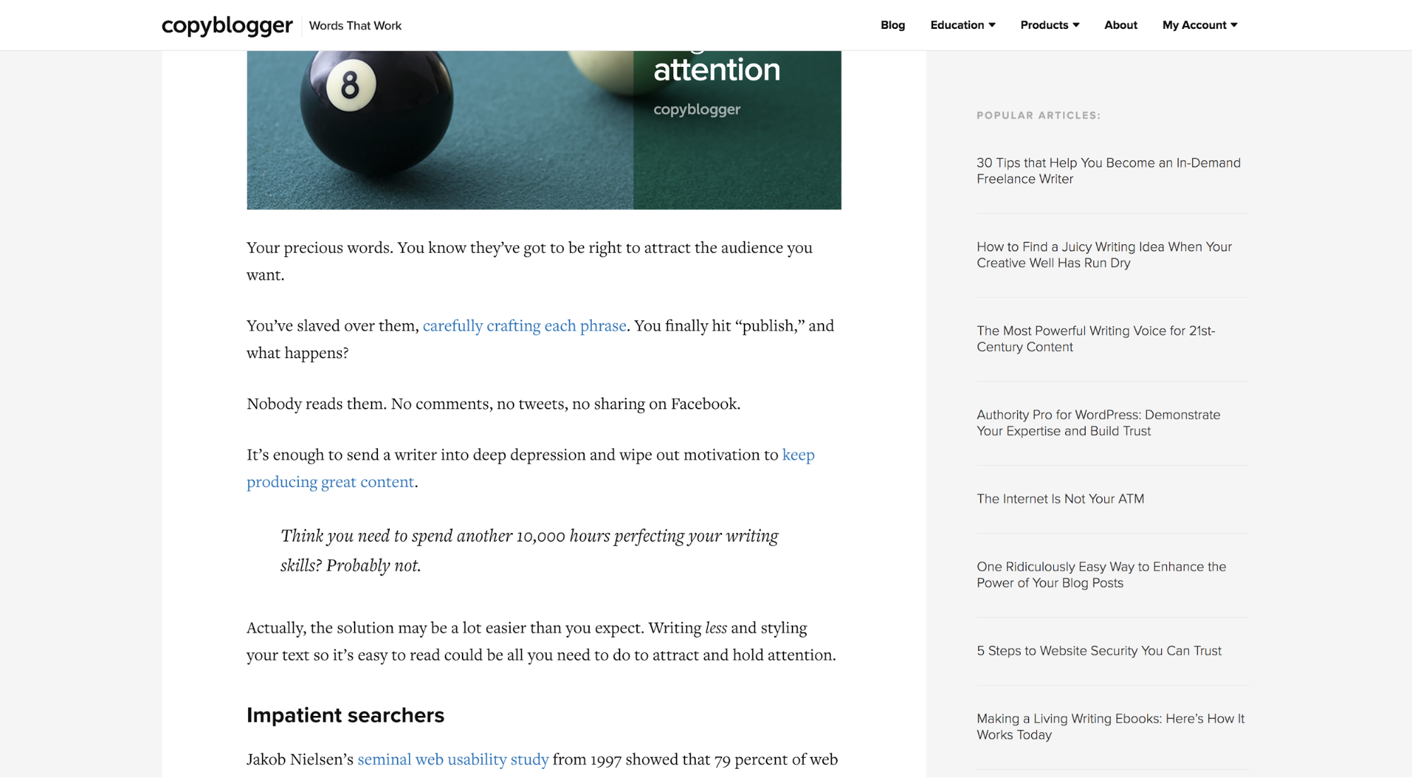 A blog post on Copyblogger with a sidebar to the right of the main content that is text only with a subtle, grey background colour.