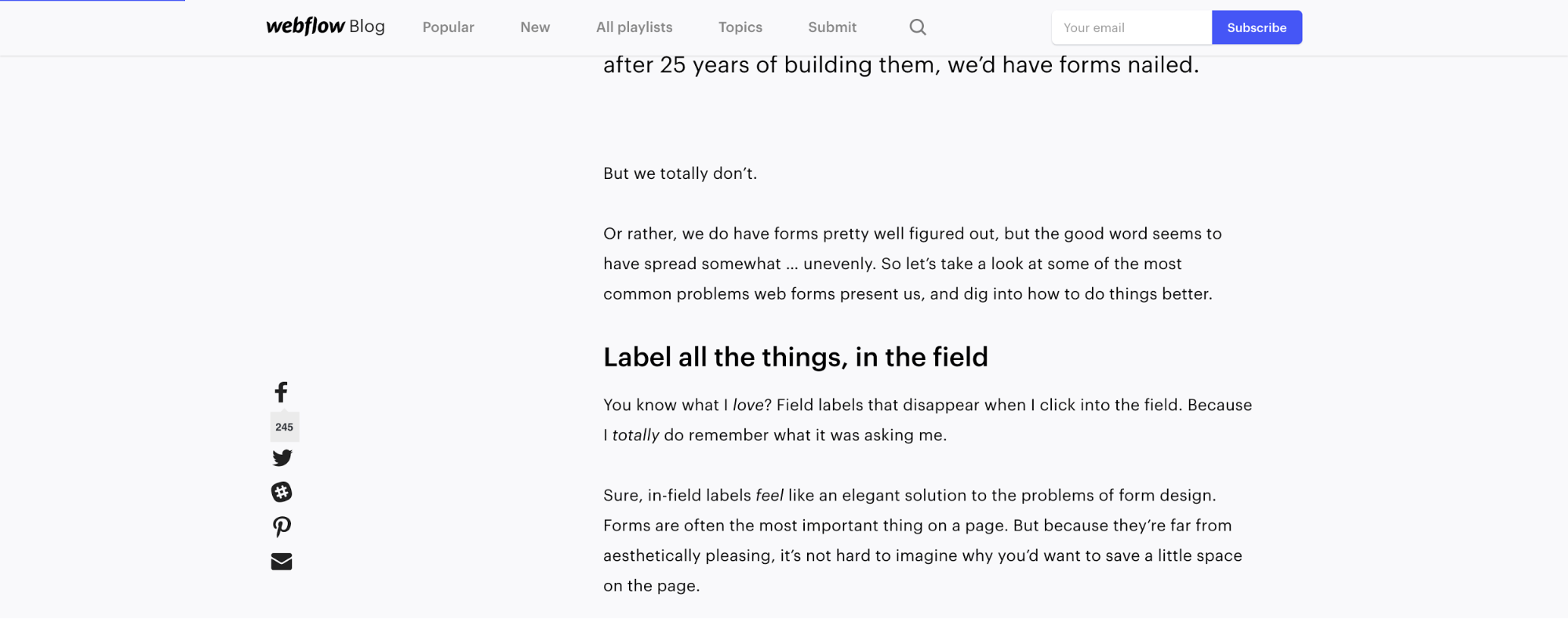A blog post on Webflow with the subscribe button clearly displayed in the upper right corner.