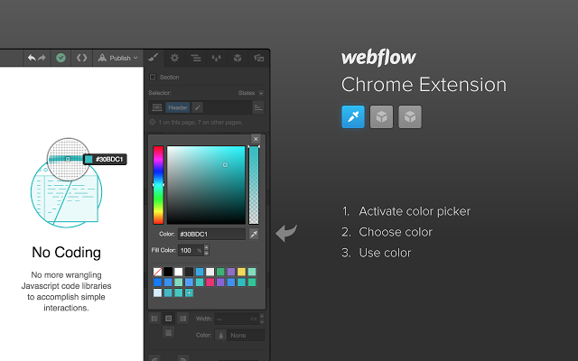 Webflow's Chrome extension enables an in-app color picker