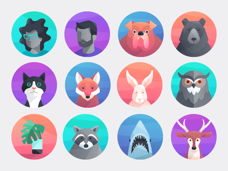 3 x 4 grid of various animal, human, and plant caricatures in circle backgrounds.