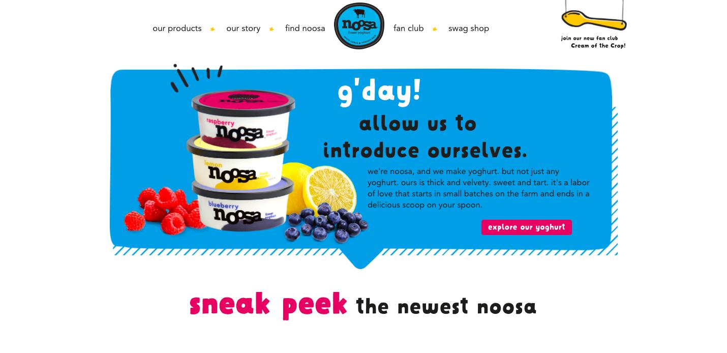 Top section of Noosa yogurt's website
