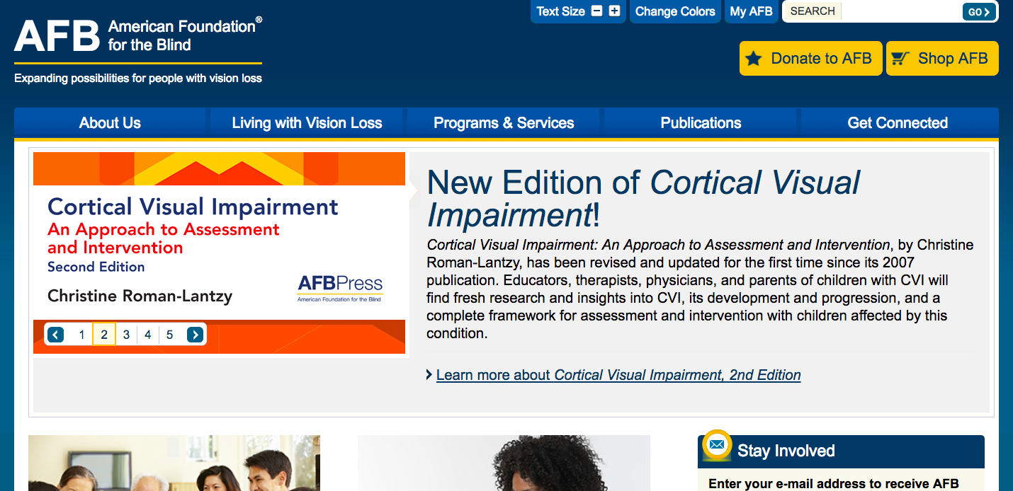 American Foundation for the Blind homepage with large type and a type size picker