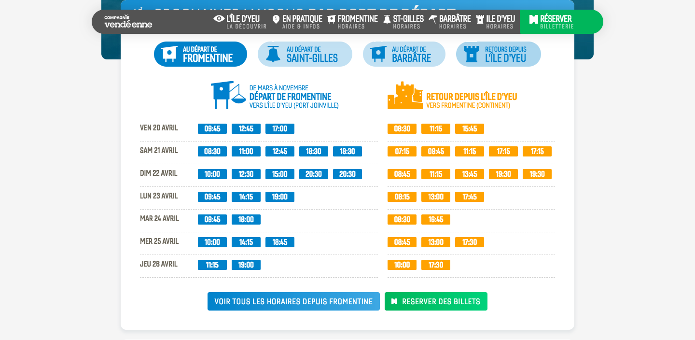 Compagnie Vendéenne ferry schedule