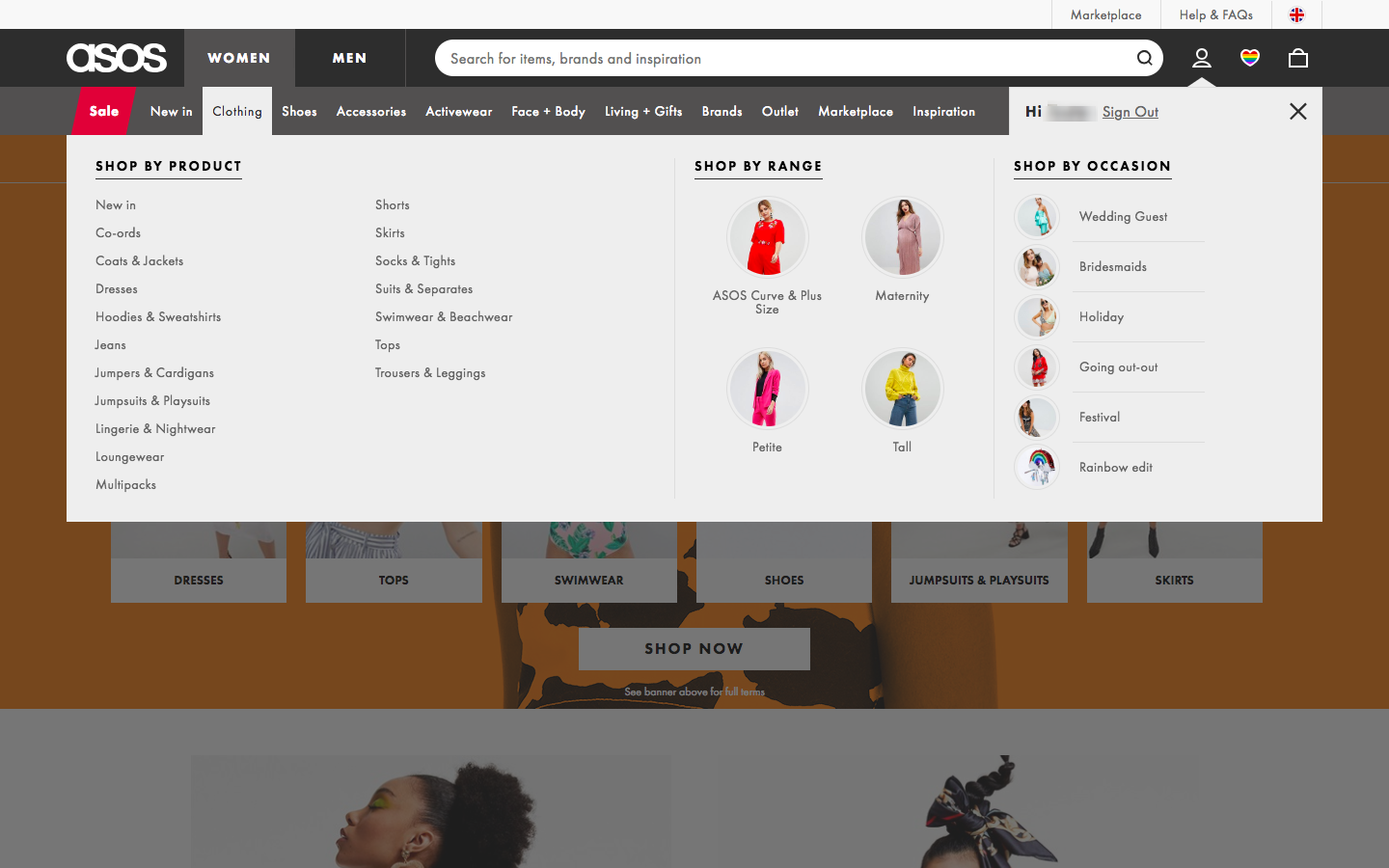 Asos website meganav with clearly categorized links