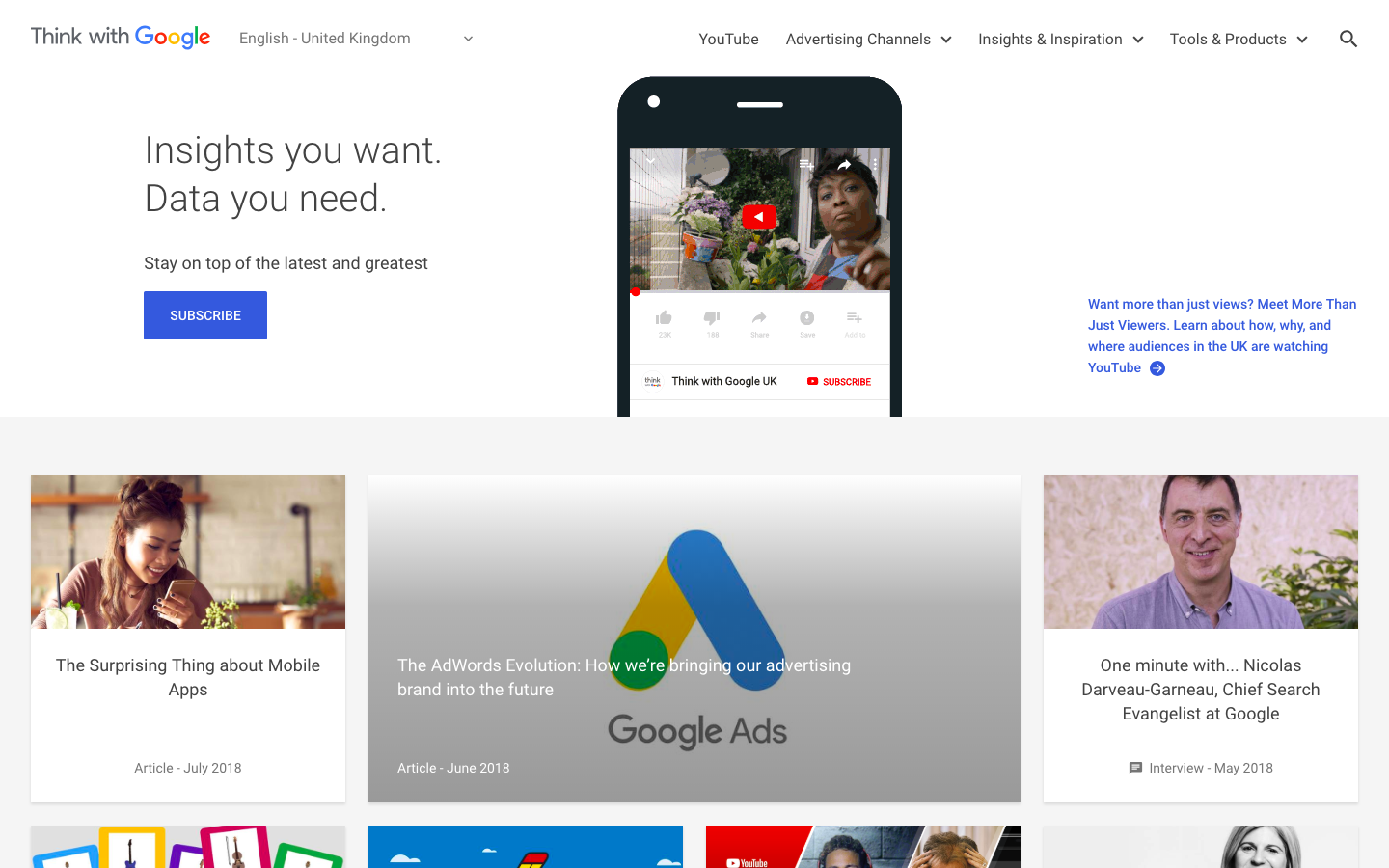 Think with Google uses a card-based layout