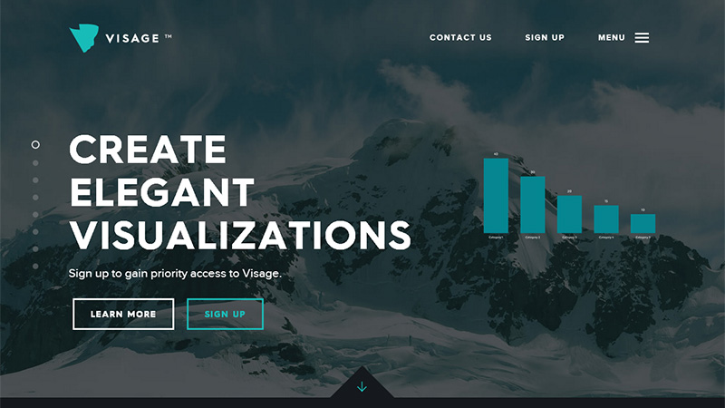 Visage landing page with ghost buttons