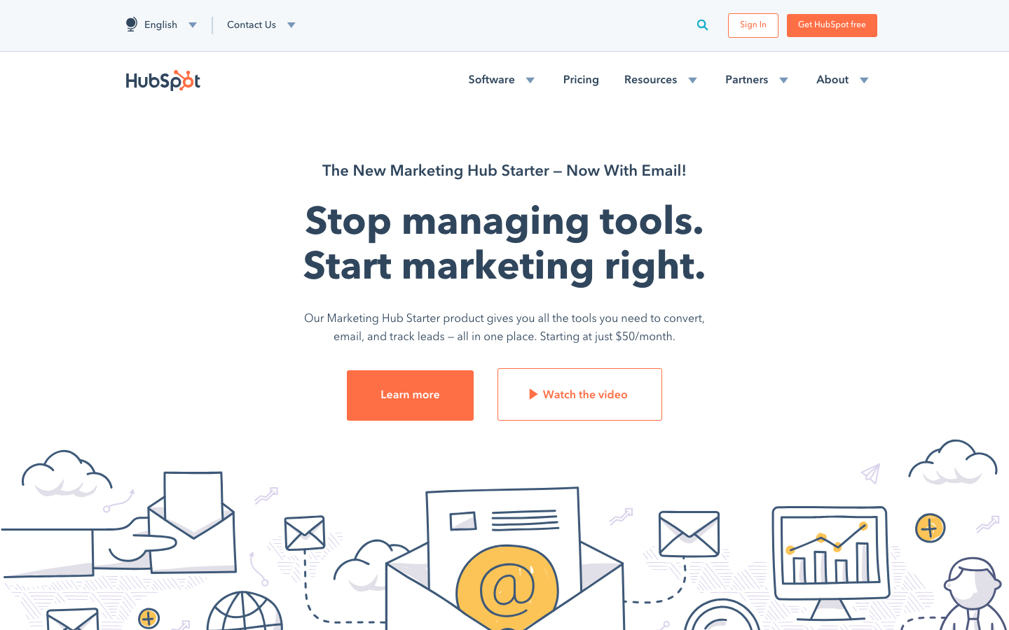 HubSpot landing page with ghost and standard buttons