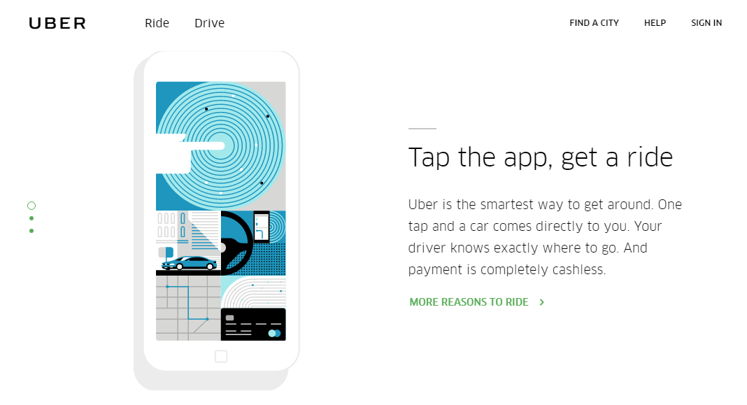 Uber's clean, simple homepage with a graphic on the left and simple copy on the right