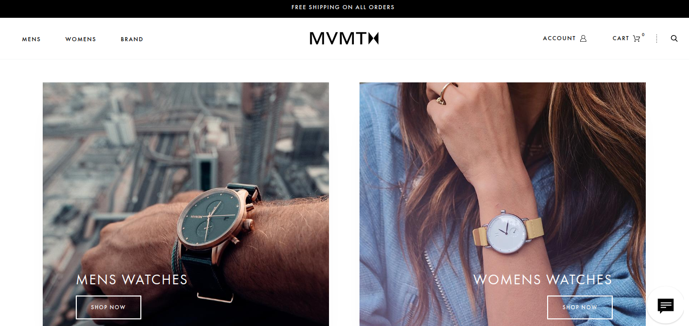 "MVMT homepage broken into two colums, each featuring an image of someone wearing a watch and each with a ""shop now"" button"