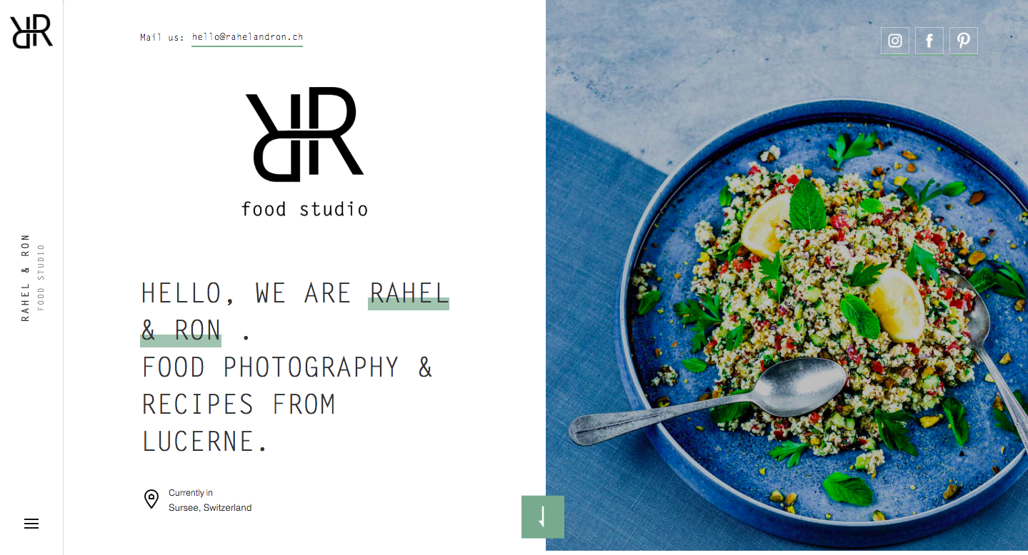 Rahel and Ron Food Studio landing page.