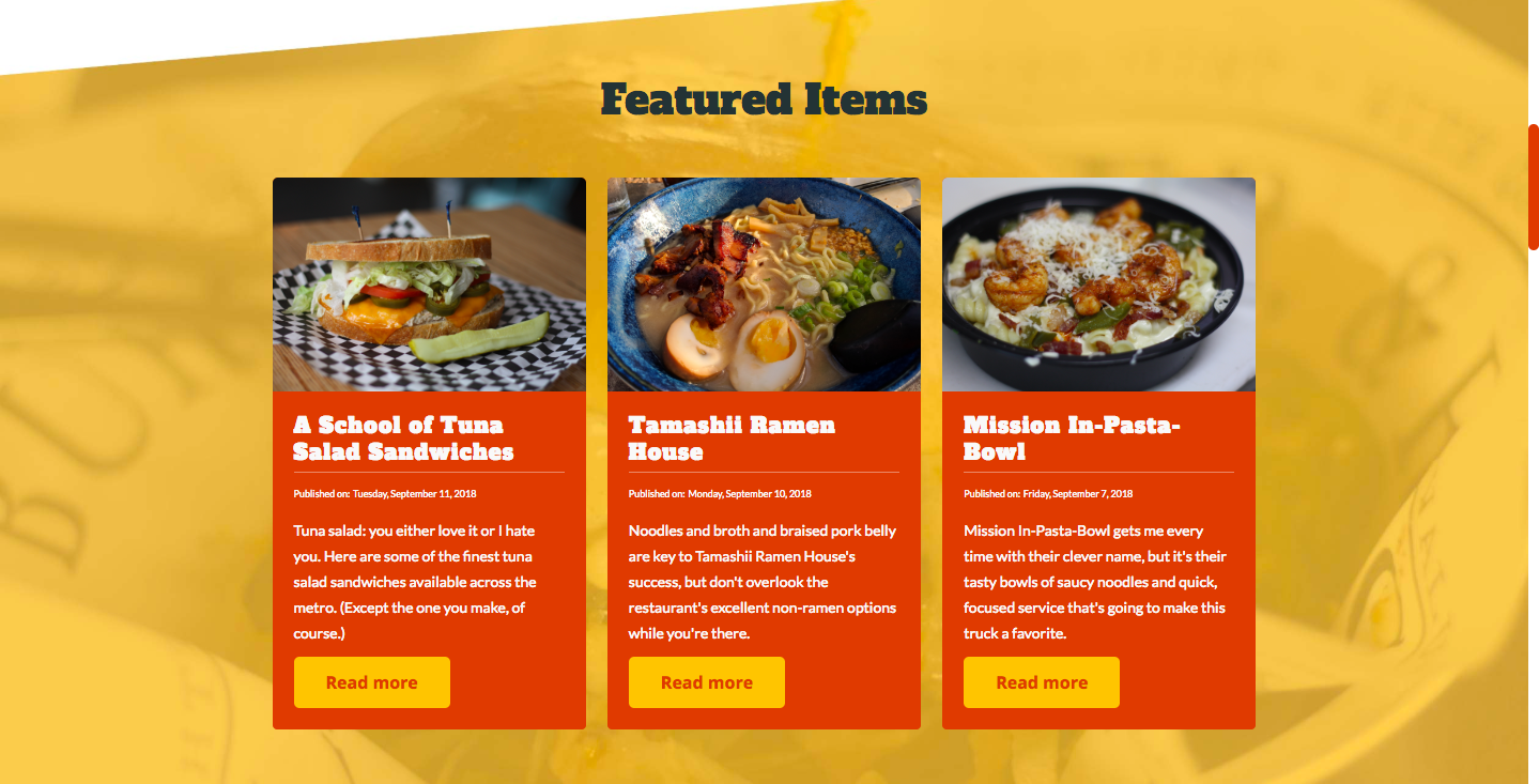 I Ate Oklahoma featured items page.