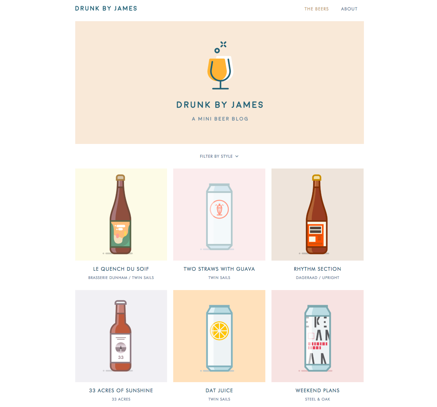 Drunk by James landing page.