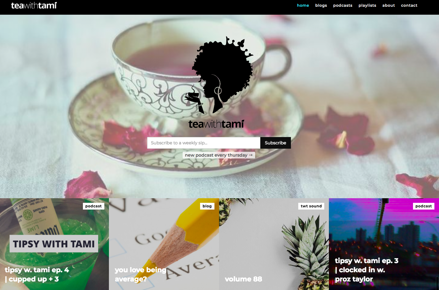 Tea with Tami landing page.