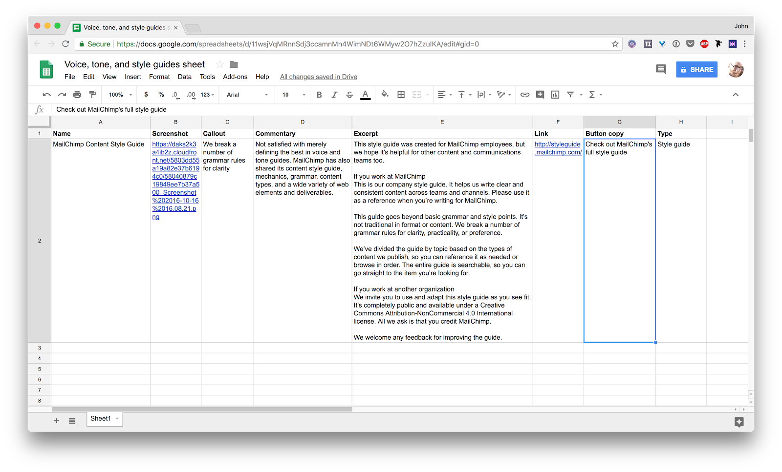 Google spreadsheet for Voice, tone, and style guides