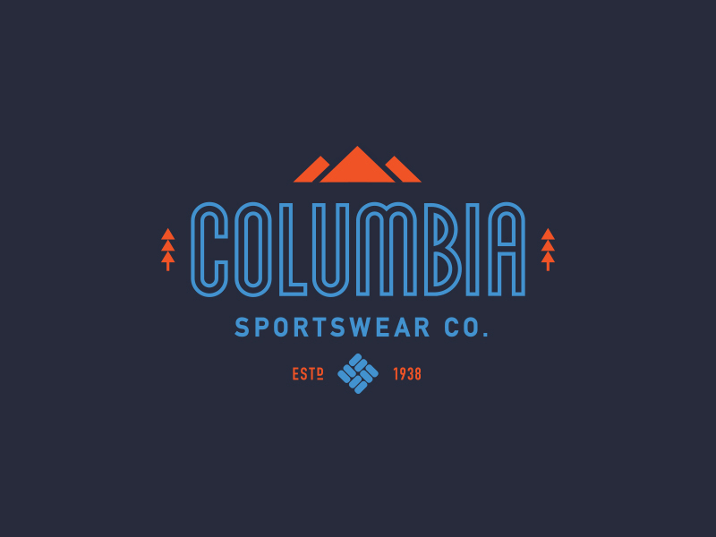 "Columbia sportswear co. logo uses outlined type for ""Columbia"