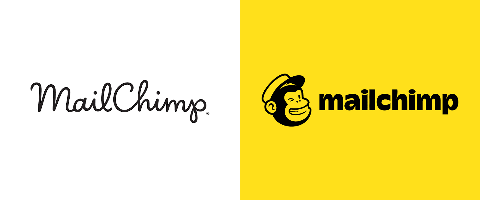 Former MailChimp log in cursive, camel case on the left and new, lowercase sans-serif logo on the right.